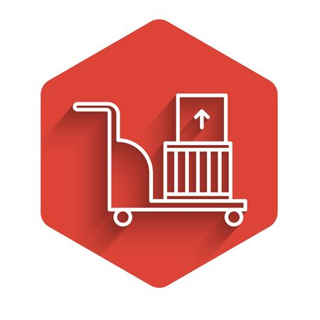 White line Electric hand truck and boxes icon isolated with long shadow. Dolly symbol. Red hexagon button. Vector Illustration
