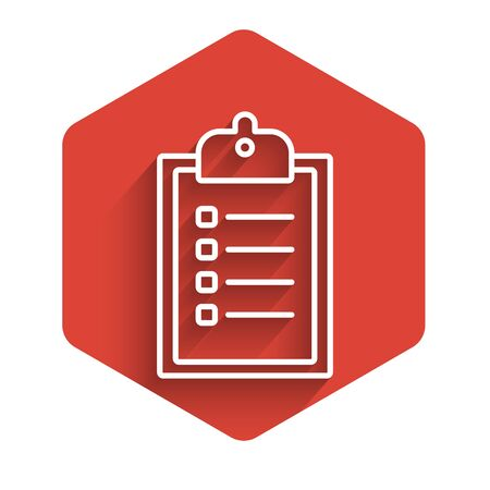 White line Verification of delivery list clipboard icon isolated with long shadow. Red hexagon button. Vector Illustration