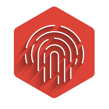White line Fingerprint icon isolated with long shadow. ID app icon. Identification sign. Touch id. Red hexagon button. Vector Illustration
