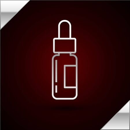 Silver line Glass bottle with a pipette. Vial with a pipette inside icon isolated on dark red background. Container for medical and cosmetic product. Vector Illustration Illustration