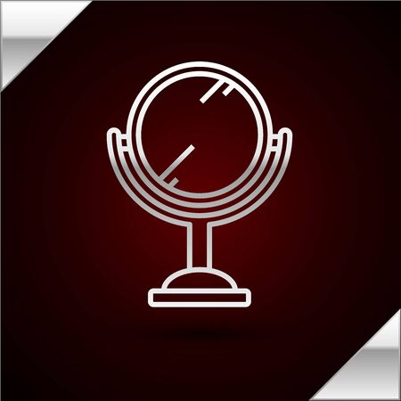 Silver line Hand mirror icon isolated on dark red background. Vector Illustration