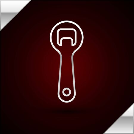 Silver line Bottle opener icon isolated on dark red background. Vector Illustration