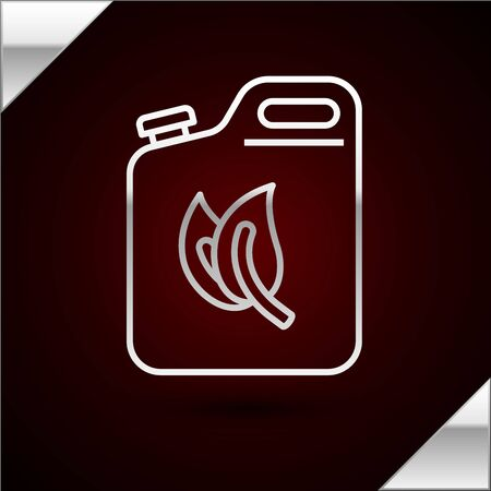 Silver line Bio fuel canister icon isolated on dark red background. Eco bio and barrel. Green environment and recycle. Vector Illustration Illustration