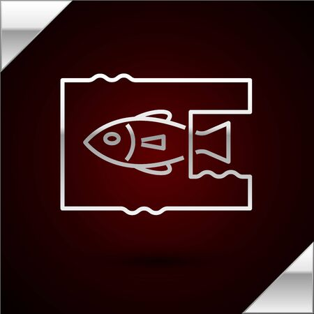 Silver line Stop ocean plastic pollution icon isolated on dark red background. Environment protection concept. Fish say no to plastic. Vector Illustration Illustration