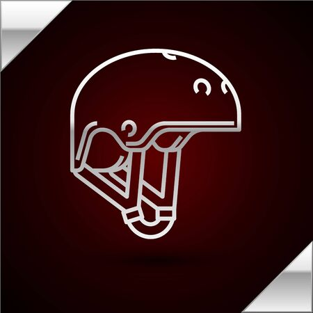 Silver line Helmet icon isolated on dark red background. Extreme sport. Sport equipment. Vector Illustration