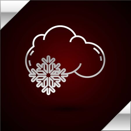 Silver line Cloud with snow icon isolated on dark red background. Cloud with snowflakes. Single weather icon. Snowing sign. Vector Illustration