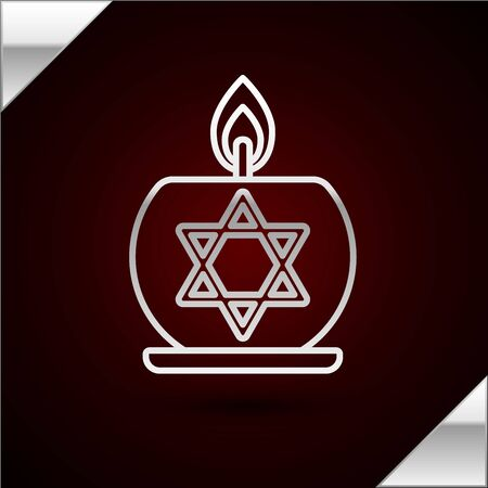 Silver line Burning candle in candlestick with star of david icon isolated on dark red background. Cylindrical candle stick with burning flame. Vector Illustration