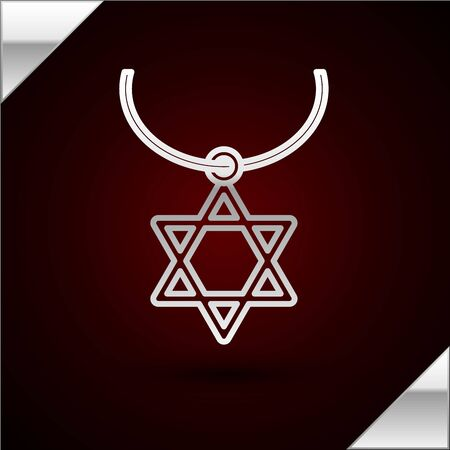 Silver line Star of David necklace on chain icon isolated on dark red background. Jewish religion symbol. Symbol of Israel. Jewellery and accessory. Vector Illustration