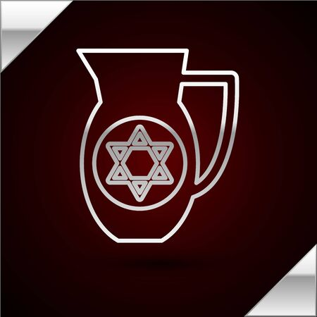 Silver line Decanter with star of david icon isolated on dark red background. Pottery jug. Organic product in carafe. Vector Illustration Çizim