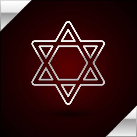 Silver line Star of David icon isolated on dark red background. Jewish religion symbol. Symbol of Israel. Vector Illustration Illustration