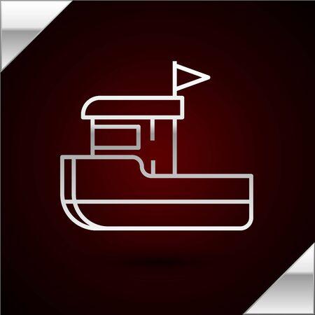 Silver line Fishing boat icon isolated on dark red background. Vector Illustration