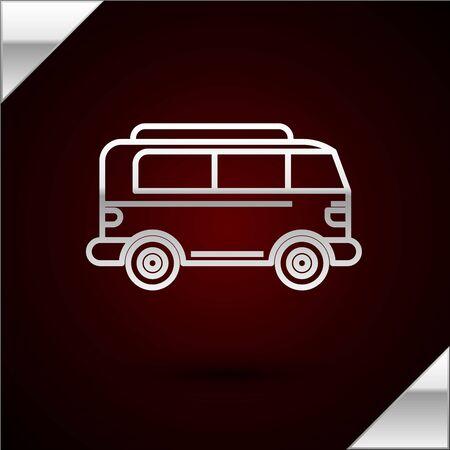Silver line Retro minivan icon isolated on dark red background. Old retro classic traveling van. Vector Illustration Vektorgrafik