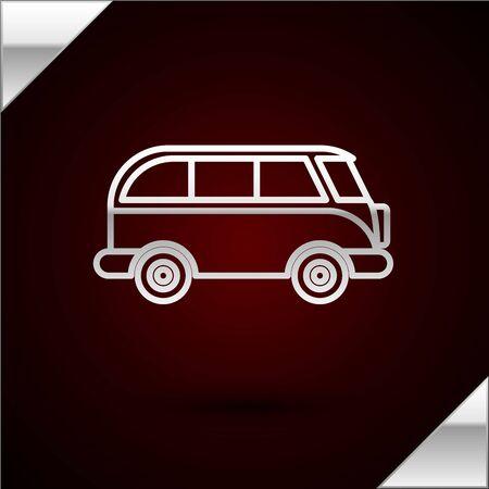Silver line Retro minivan icon isolated on dark red background. Old retro classic traveling van. Vector Illustration