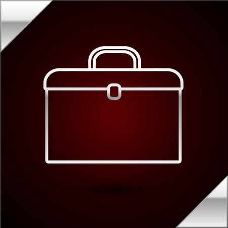 Silver line Briefcase icon isolated on dark red background. Business case sign. Business portfolio. Vector Illustration