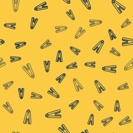 Blue line Curling iron for hair icon isolated seamless pattern on yellow background. Hair straightener icon. Vector Illustration