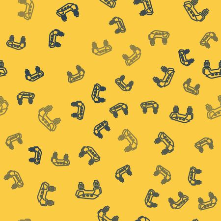 Blue line Knee pads icon isolated seamless pattern on yellow background. Extreme sport. Sport equipment. Skateboarding, bicycle, roller skating protective gear. Vector Illustration