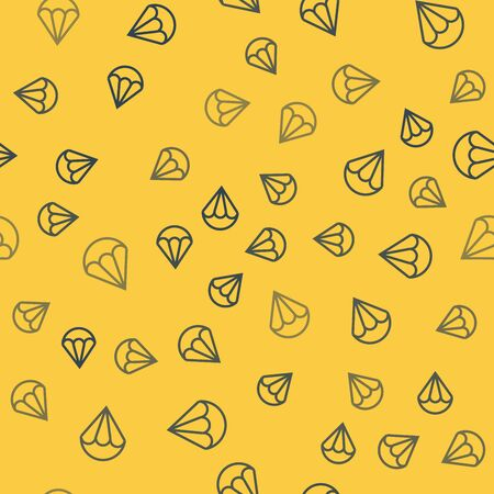 Blue line Parachute icon isolated seamless pattern on yellow background. Extreme sport. Sport equipment. Vector Illustration