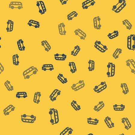 Blue line Retro minivan icon isolated seamless pattern on yellow background. Old retro classic traveling van. Vector Illustration Illustration