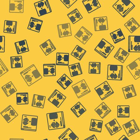 Blue line Online casino chips exchange on stacks of dollars icon isolated seamless pattern on yellow background. Vector Illustration