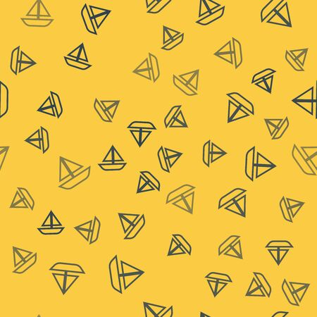 Blue line Yacht sailboat or sailing ship icon isolated seamless pattern on yellow background. Sail boat marine cruise travel. Vector Illustration