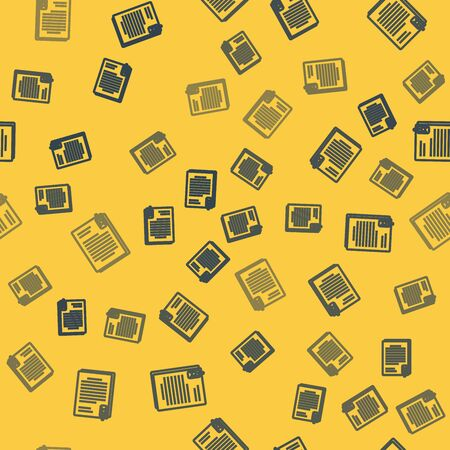 Blue line File document and paper clip icon isolated seamless pattern on yellow background. Checklist icon. Business concept. Vector Illustration