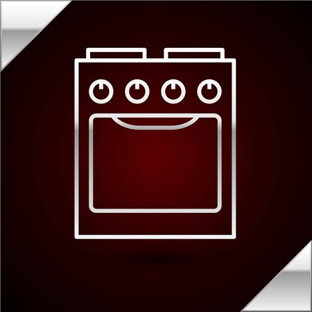 Silver line Oven icon isolated on dark red background. Stove gas oven sign. Vector Illustration