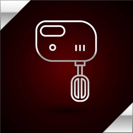 Silver line Electric mixer icon isolated on dark red background. Kitchen blender. Vector Illustration