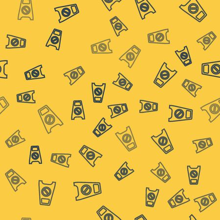 Blue line Wet floor and cleaning in progress icon isolated seamless pattern on yellow background. Cleaning service concept. Vector Illustration