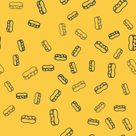 Blue line Sponge icon isolated seamless pattern on yellow background. Wisp of bast for washing dishes. Cleaning service concept. Vector Illustration