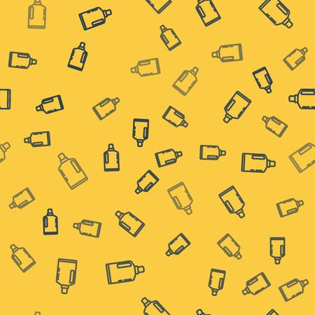 Blue line Plastic bottle for liquid laundry detergent, bleach, dishwashing liquid or another cleaning agent icon isolated seamless pattern on yellow background. Vector Illustration Stock Illustratie