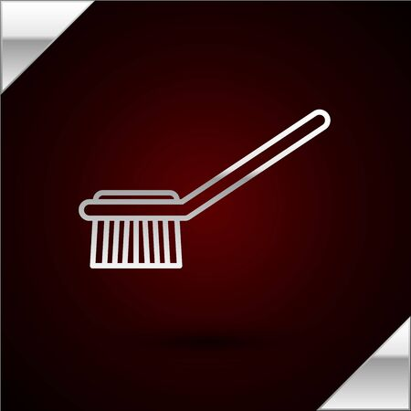 Silver line Toilet brush icon isolated on dark red background. Vector Illustration Иллюстрация