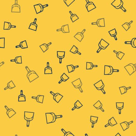 Blue line Dustpan icon isolated seamless pattern on yellow background. Cleaning scoop services. Vector Illustration