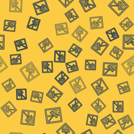 Blue line Cleaning service with of rubber cleaner for windows icon isolated seamless pattern on yellow background. Squeegee, scraper, wiper. Vector Illustration Vectores
