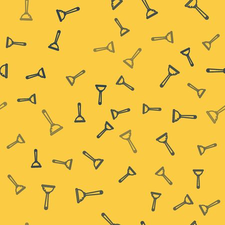 Blue line Rubber plunger with wooden handle for pipe cleaning icon isolated seamless pattern on yellow background. Toilet plunger. Vector Illustration