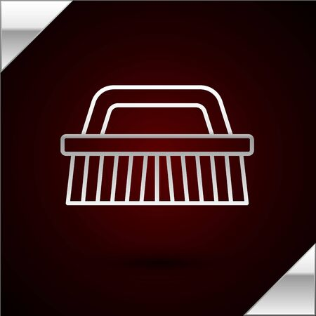 Silver line Brush for cleaning icon isolated on dark red background. Vector Illustration