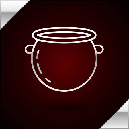 Silver line Halloween witch cauldron icon isolated on dark red background. Happy Halloween party. Vector Illustration
