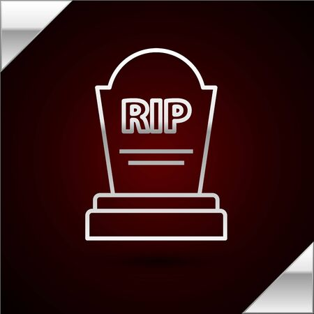 Silver line Tombstone with RIP written on it icon isolated on dark red background. Grave icon. Vector Illustration