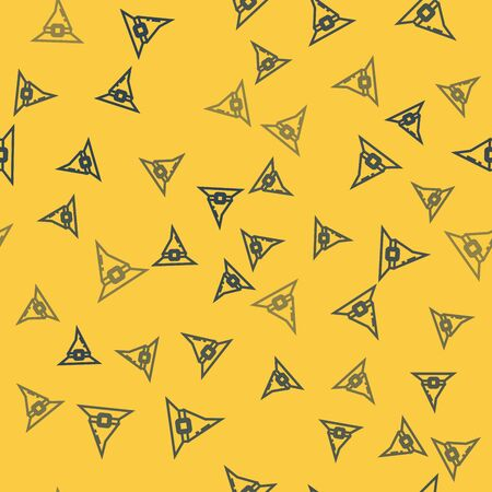Blue line Witch hat icon isolated seamless pattern on yellow background. Happy Halloween party. Vector Illustration