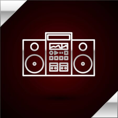 Silver line Home stereo with two speakers icon isolated on dark red background. Music system. Vector Illustration Иллюстрация