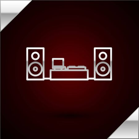 Silver line Home stereo with two speaker s icon isolated on dark red background. Music system. Vector Illustration