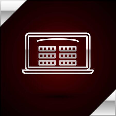 Silver line Buy cinema ticket online icon isolated on dark red background. Service Concept. Vector Illustration Ilustración de vector
