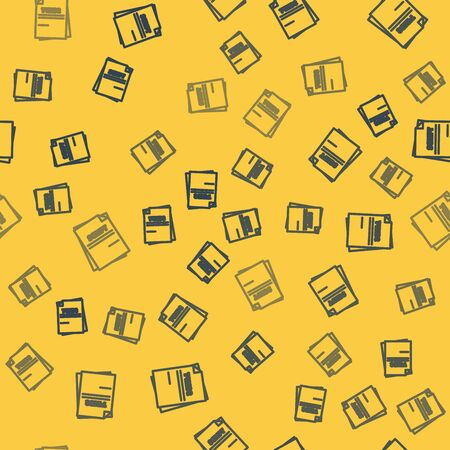 Blue line Scenario icon isolated seamless pattern on yellow background. Script reading concept for art project, films, theaters. Vector Illustration