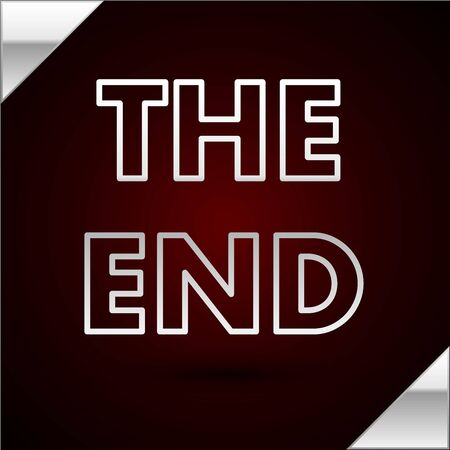 Silver line The End handwritten inscription icon isolated on dark red background. Closing movie frame. Movie ending screen. Vector Illustration
