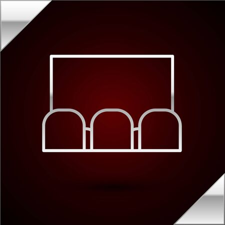 Silver line Cinema auditorium with screen and seats icon isolated on dark red background. Vector Illustration