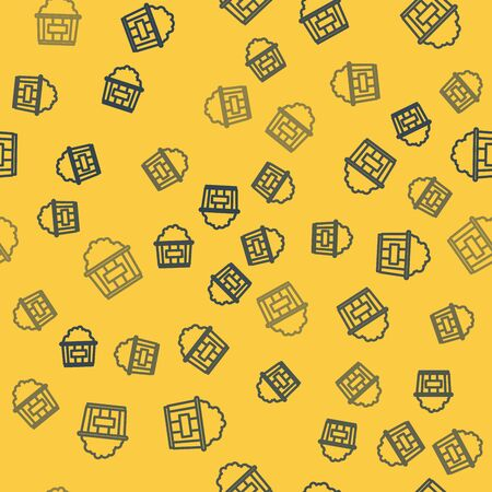 Blue line Popcorn in cardboard box icon isolated seamless pattern on yellow background. Popcorn bucket box. Vector Illustration