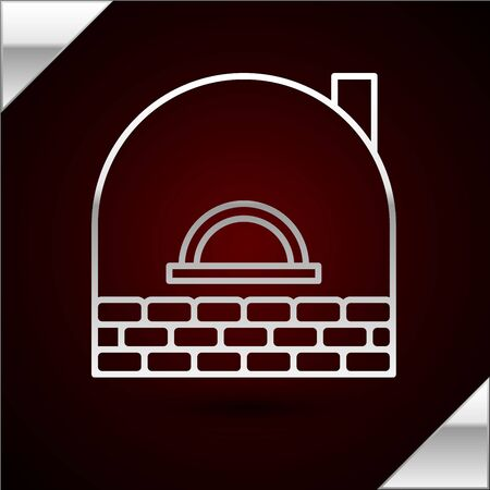 Silver line Brick stove icon isolated on dark red background. Brick fireplace, masonry stove, stone oven icon. Vector Illustration