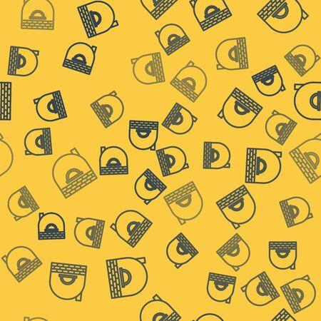 Blue line Brick stove icon isolated seamless pattern on yellow background. Brick fireplace, masonry stove, stone oven icon. Vector Illustration Ilustração