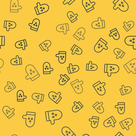 Blue line Oven glove icon isolated seamless pattern on yellow background. Kitchen potholder sign. Cooking glove. Vector Illustration