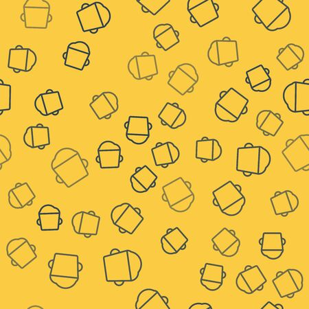 Blue line Bakery bowl dough icon isolated seamless pattern on yellow background. Vector Illustration