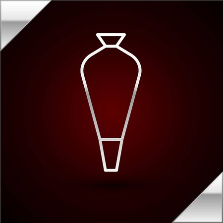 Silver line Pastry bag for decorate cakes with cream icon isolated on dark red background. Kitchenware and utensils. Vector Illustration Illustration